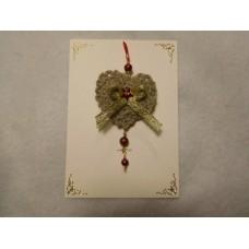 Joulukortti kultainen sydän 2kpl