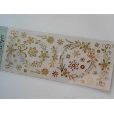 Joulukukat -tarrat, arkin koko 10x24 cm, kullanväriset
