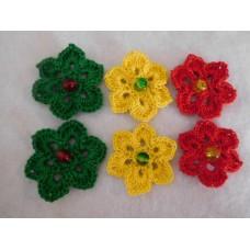 Virkatut kukat helmillä 6 kpl