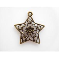 Metalliriipus tähti, 30x29 mm, antiikkipronssi