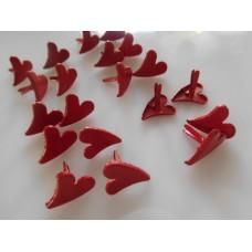 Sydän niitit, 12x11 mm, 20 kpl/pss, punainen