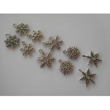 Lumihiutale koristeet metallia, 10 kpl/pss